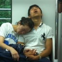 One of the weirder things I saw on the Seoul Subway (I saw this happen with a lot of couples, or girlfriends sleeping on each other)...