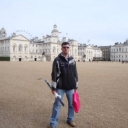 Me freezing to death while I was in London back in 2009.  And yes, I did buy a wall scroll that day....=)