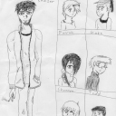 Let's try this again -_-;;Got bored with a ballpoint pen during Science class, so I drew basic versions of a few of my characters from my latest story. Corey Knaizer is the main character, the other six are also main characters, but not as important as Corey, lol.